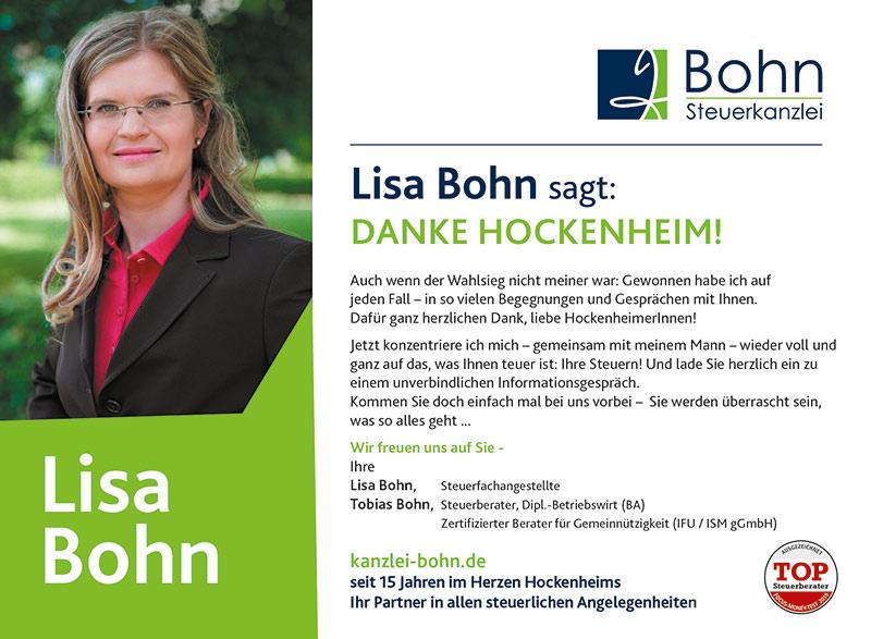 Lisa Bohn sagt DANKE